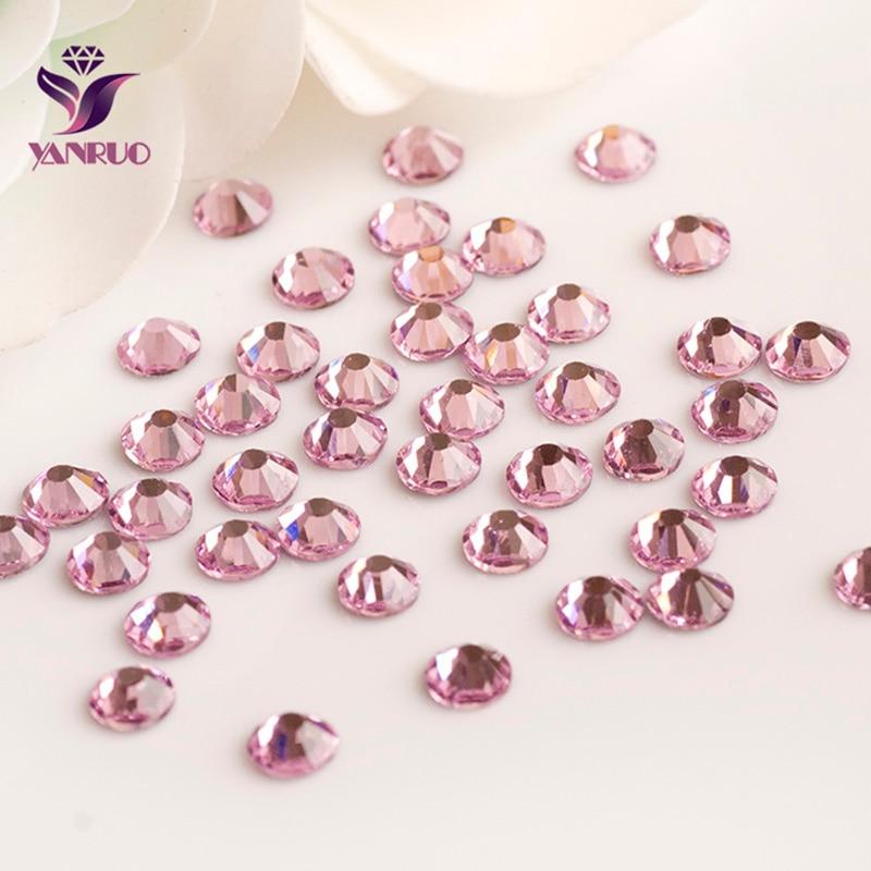 YANRUO-diamantes de imitación 2058HF, Strass rosa claro, fijación en caliente, hierro térmico,...
