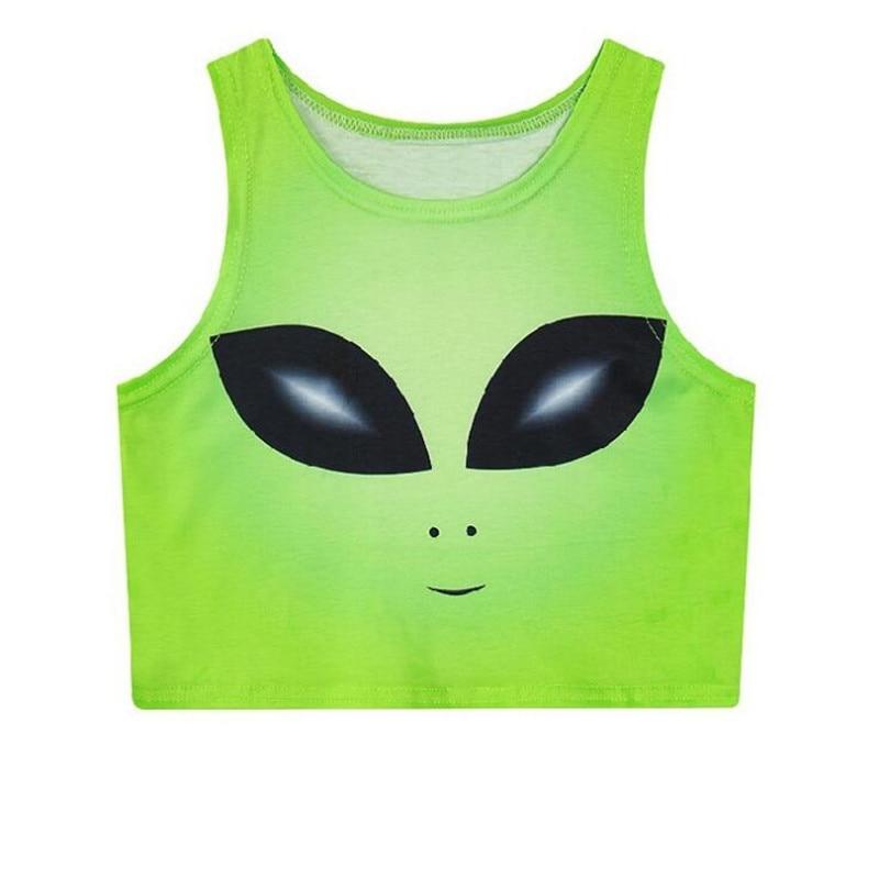 Hiawatha primavera Alien Chaleco Corto mujeres Slim Digital impreso Tank Tops Harajuku estilo verano Crop Tops T2718