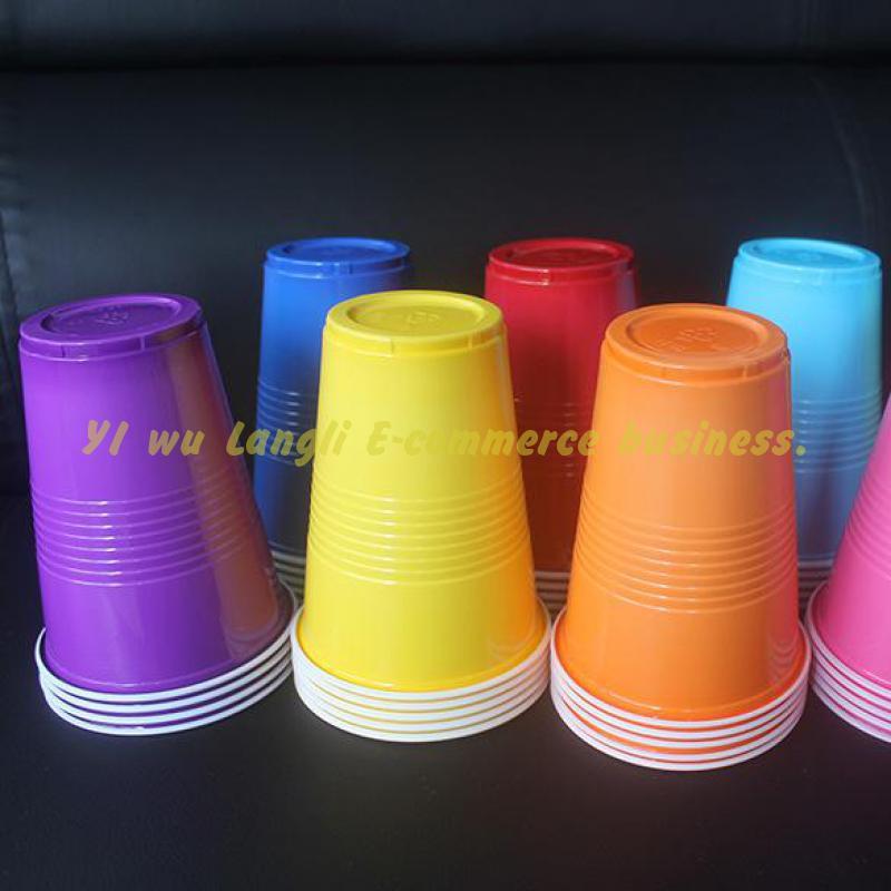 Tasses jetables de 450ml 50 pièces/lot   Tasse couleur de dégustation, tasse en Pp pour le lait thé fruits jus de fruits fournitures de fête