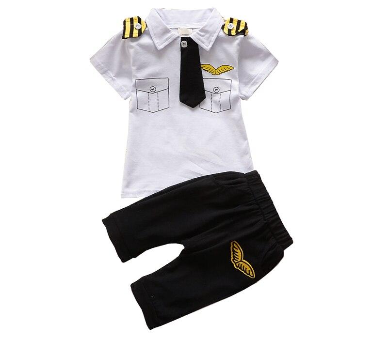 Frete grátis verão novo bebê meninos gravata falso bolso algodão manga curta conjuntos de duas peças