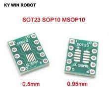 20 pièces SOT23 SOP10 MSOP10 Umax SOP23 à DIP10 Pinboard SMD à DIP adaptateur plaque 0.5mm/0.95mm à 2.54mm DIP Pin PCB carte convertir
