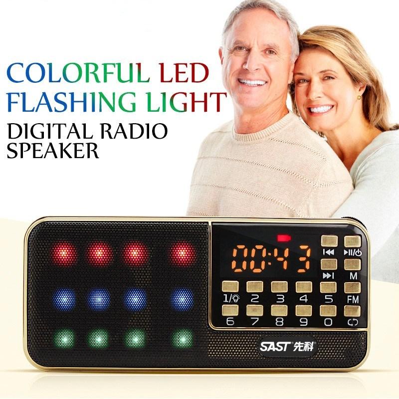 Altavoz Fm Radio Sd tarjeta Usb Radio Digital ESTÉREO FM receptor portátil MP3 altavoz Fm estéreo sonido Aux luces LED