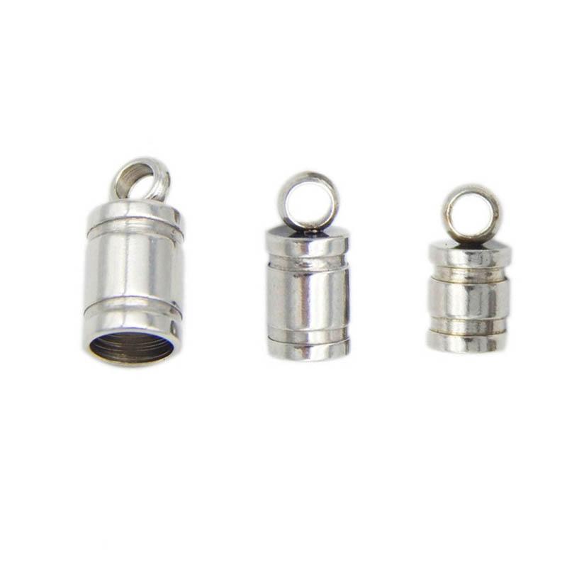 10 шт., заглушки для шнура из нержавеющей стали 2/3/4/5/6/8 мм, крючки, Круглый соединитель для браслета и ожерелья, фурнитура для самостоятельного...