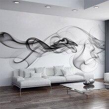 Papier peint Art abstrait moderne et personnalisé   Stéréo 3D, fumée noire et blanche, décoration murale pour bureau, salon, maison 3 D