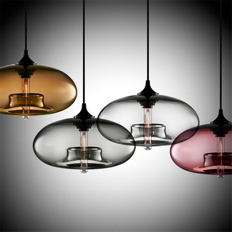 Creative Personality Stained Glass Pendant Lamp Retro E27 Flat Ball Pendant Light For Kitchen Restaurant Bar Apartment Foyer  - buy with discount