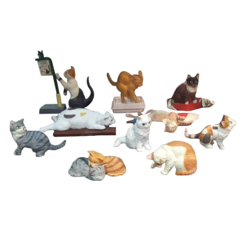 Japanese genuine 10 sets cute pets black kitten Ragdoll Burmilla Shorthair Exotic Ocicat Manx Tuxedo cat figurine desktop figure