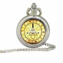 Steampunk drame dessin animé mystères BILL roue de chiffrement nouvelle montre de poche 1 pièces/lot pendentif collier verre docteur qui chaîne hommes