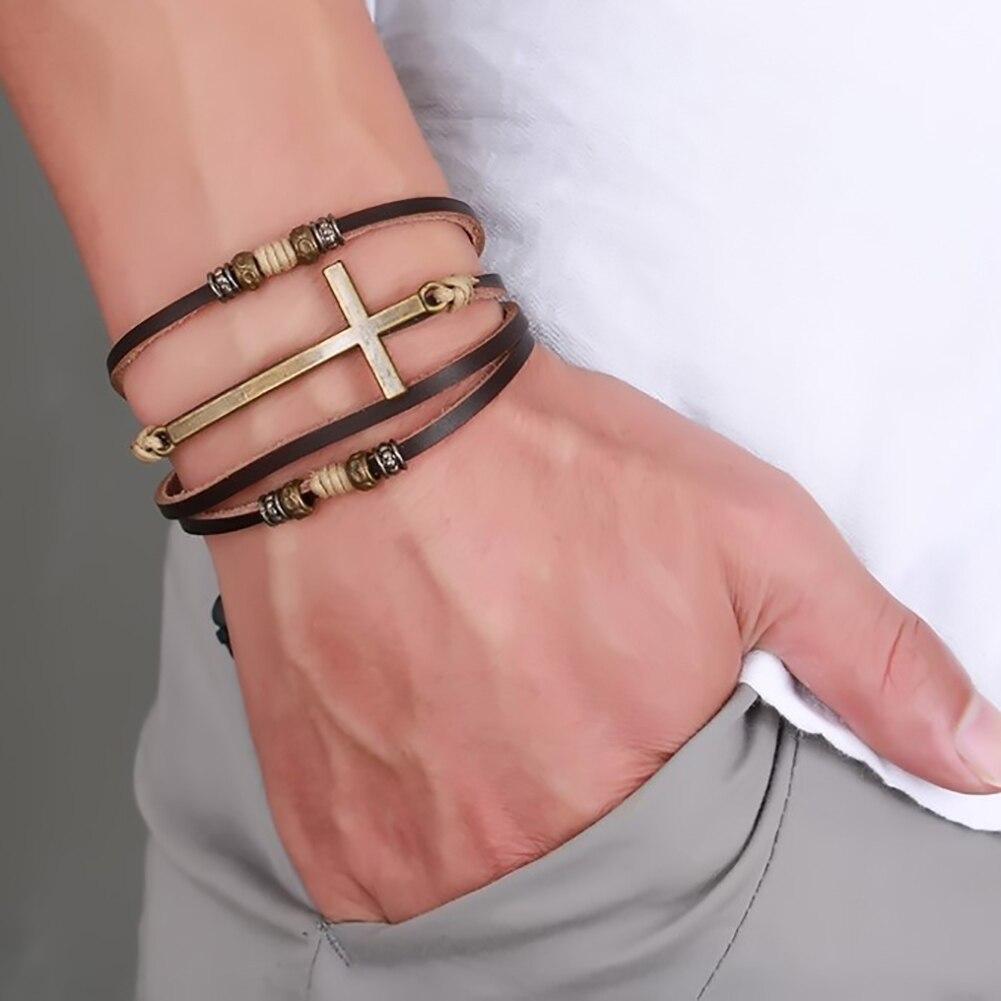 Retro falso couro cruz pulseira pulseira feminina masculino jóias ajustável corda corrente punk multi-camada mão-tecido cruz pulseira