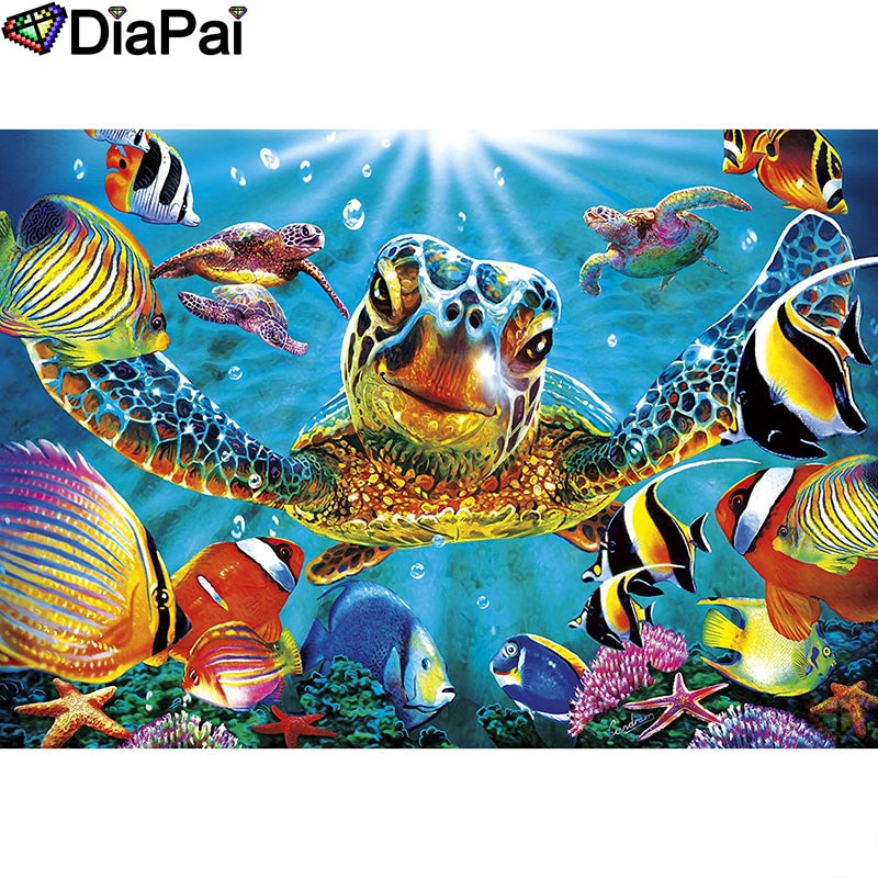 "Pintura de diamante DIAPAI 5D DIY 100% taladro cuadrado/redondo completo ""Color tortuga marina"" bordado de diamantes punto de cruz decoración 3D A18559"
