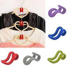 IVYSHION 10 Pcs/lot Cloth Hanger Hook Mini Flocking Clothes Hanger Easy Hook Closet Organizer Clothes Hanger Dropshipping