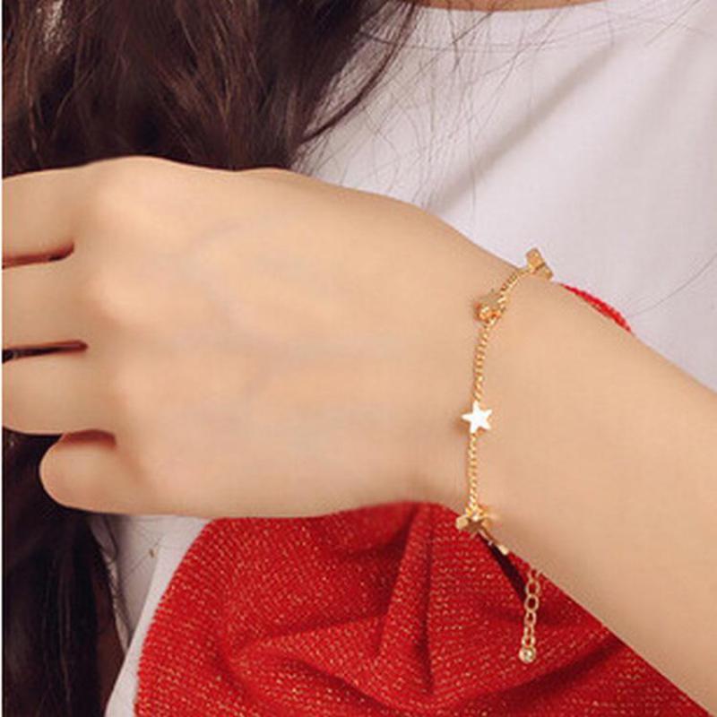 Корейская версия браслета с пятиконечной звездой и персиковым сердечком, женская бижутерия, оптовая продажа