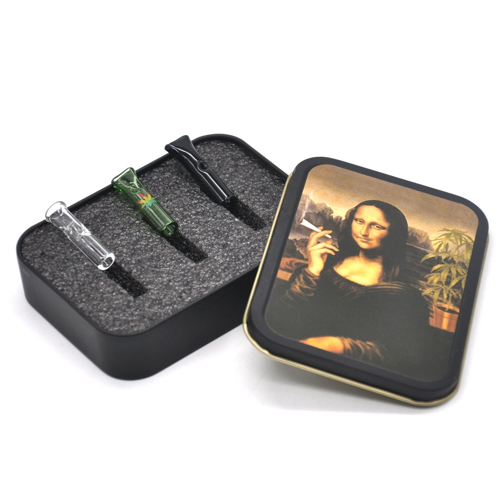 HONEYPUFF Reusable Glass Cigarette Filter Tips Glass Mouth Tips Cigarette Holders with Metal Tobacco Box Cigarette Case enlarge