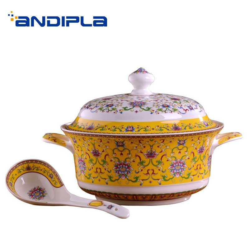 Recipiente de cerámica para sopa con tapa Jingdezhen, diseño lujoso, juego de cucharas, recipiente grande para Postres, vajilla, decoración