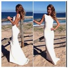 LORIE Boho Wedding Dress Mermaid Style Spandex Long Backless Beach Wedding Gown Backless White  Bride Dress 2019