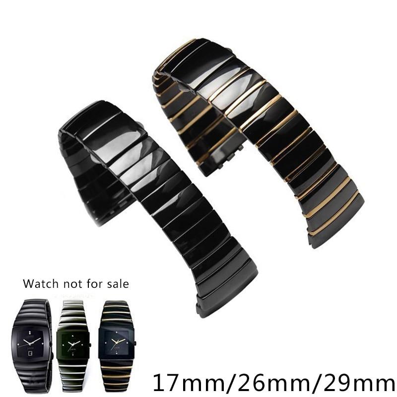Shengmeirui, correa de reloj de cerámica de alta calidad, 17mm, 26mm, 29mm, pulsera para hombre y mujer, para la serie Rado Sintra