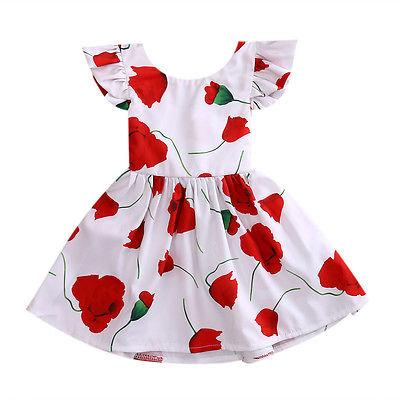 Vestido de princesa de manga corta con tutú de rosa roja con estampado Floral de Roes para fiestas de bebés de chico bonito