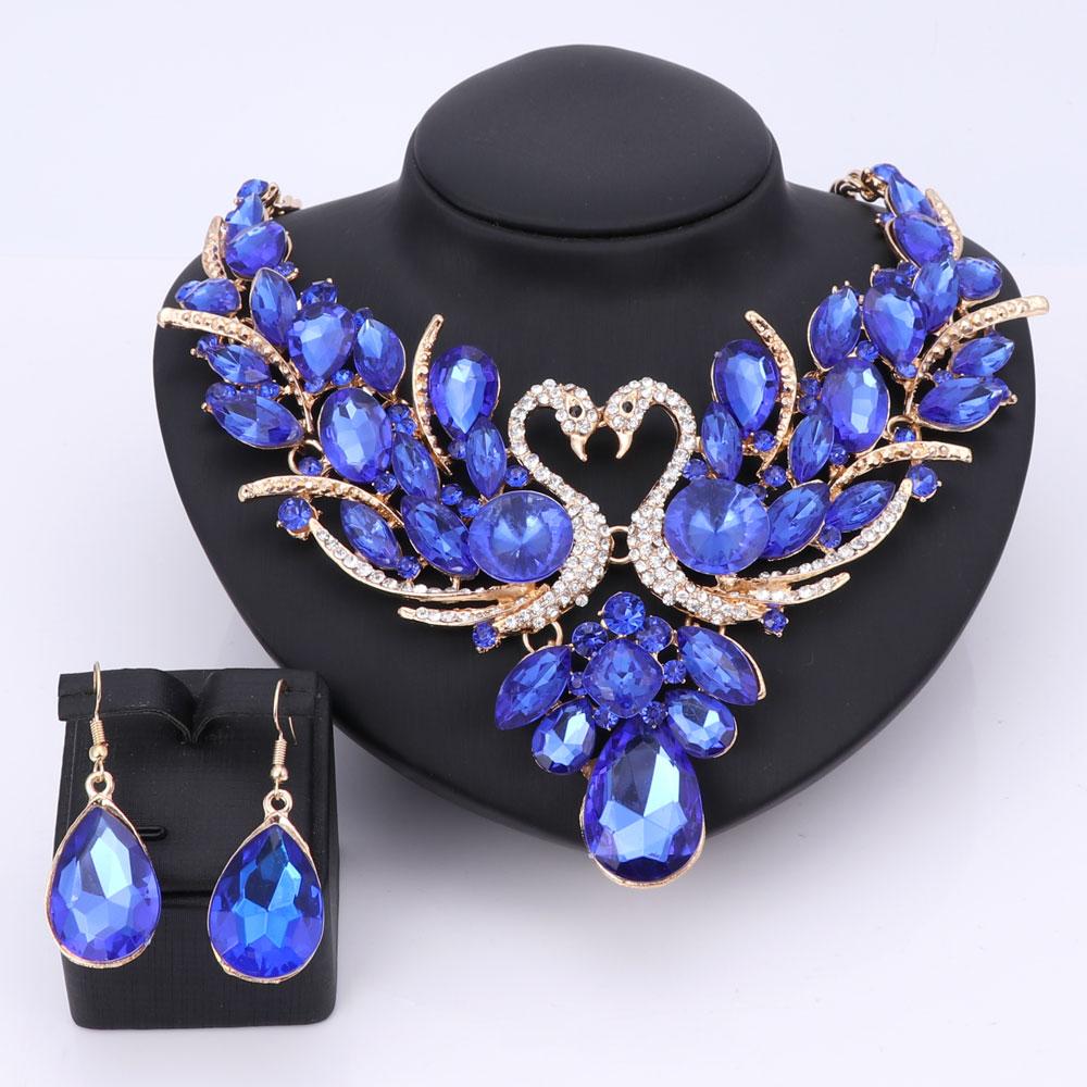 Красивый голубой кристалл лебедь Свадебный комплект ювелирных изделий золотой цвет ювелирные изделия вечерние свадебные ожерелья серьги ...
