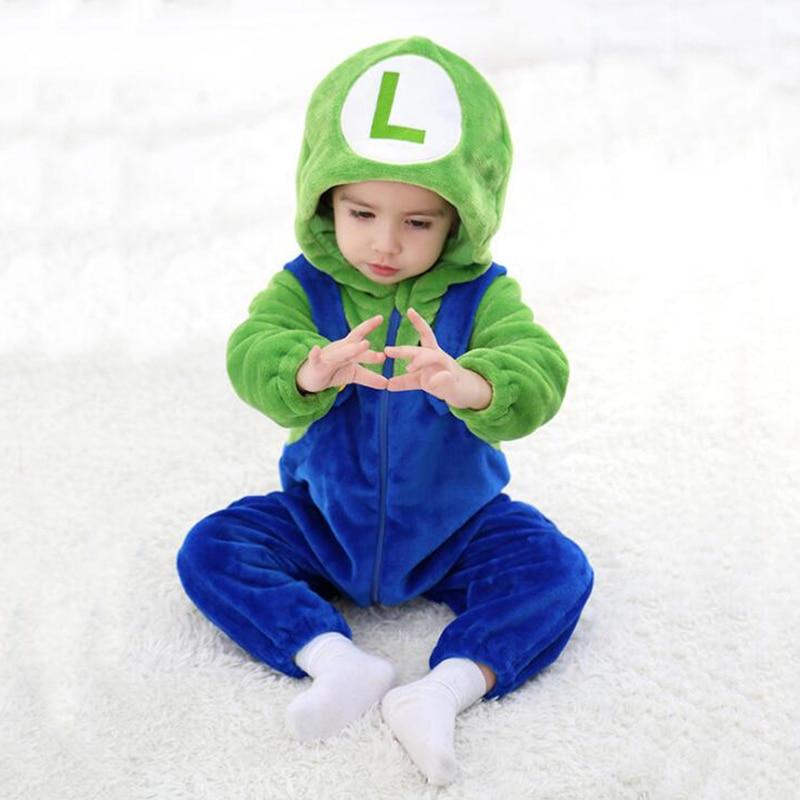 Baby Super Red Luigi Kigurumi Pajamas Clothing Newborn Infant Romper Onesie Animal Anime Costume Outfit Hooded Winter Jumpsuit