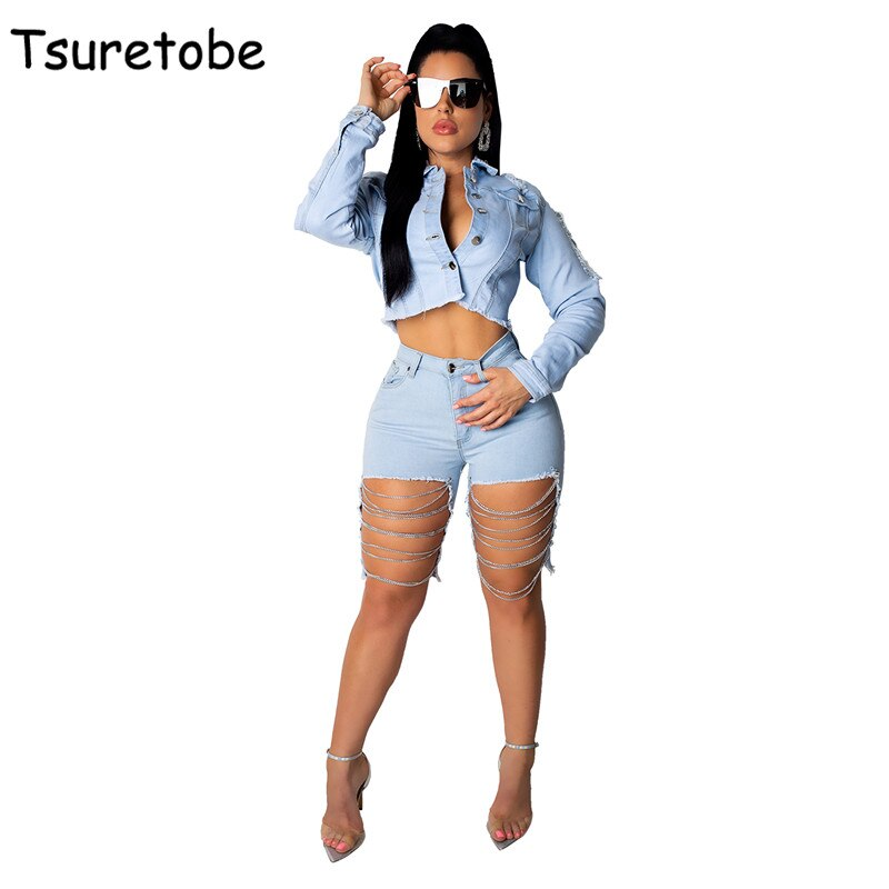 Tsuretobe Sexy Club Denim Two Piece Outfits Women Backless Crop Top And Jeans Shorts Set Ladies Fash