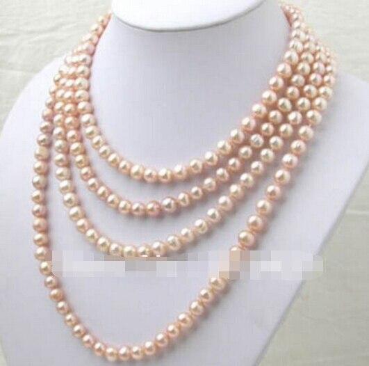 Envío Gratis> @ 1411 7-8MM Akoya rosado collar largo de perlas de 100 pulgadas