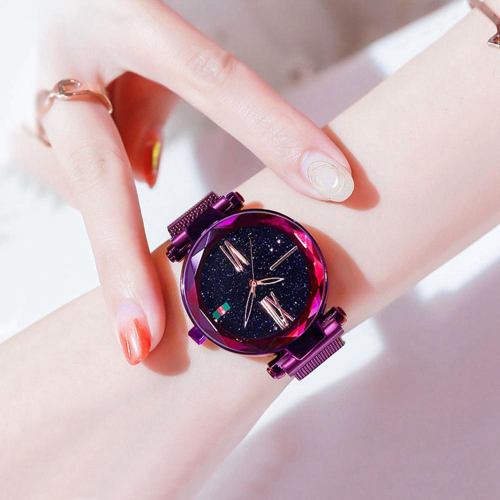 DOM Women Fashion Purple Quartz Watch Lady Steel Watchband High Quality Casual Waterproof Wristwatch Gift for Girl G-1244PK-1M1 enlarge