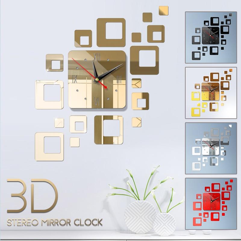 DIY 3D Mirror Wall Stickers Wall Clock Watch Art Mural Home Decor Living Room TV Background Stickers Wall Clocks Quartz Needle