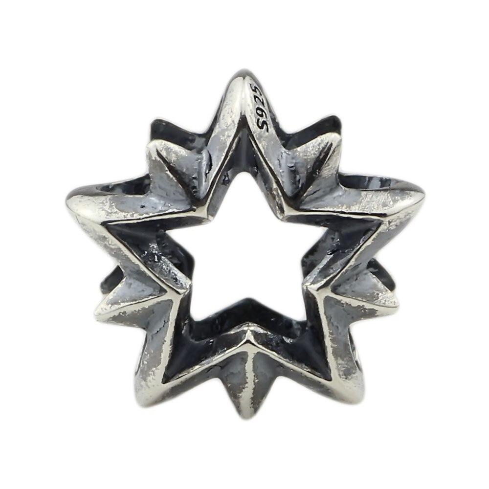 925 prata esterlina guiando estrela charme talão se encaixa europeu troll 3.0mm pulseira jóias