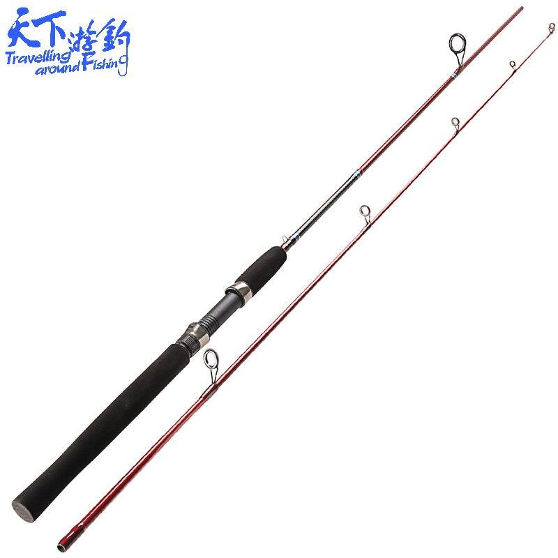 1.98 m 2 Seções de Fiação Vara De Pesca M e ML Poder Carbono fibra Vara Isca 3.5-18g de Peso Isca Linha 4-10LB Peso Vara De Pescar