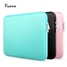 Yicana 11 12 13 14 15.6 inch sleeve laptop case voor MacBook Air Pro Ultrabook Notebook Tablet computer Draagbare Zachte rits zak