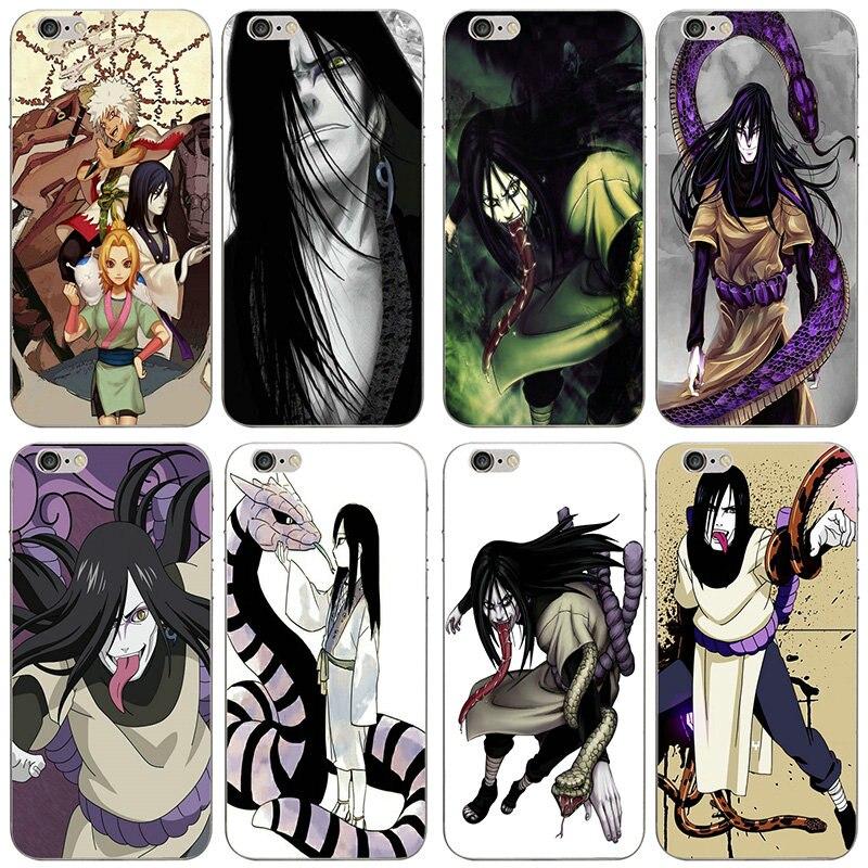 Fundas de teléfono transparentes de silicona TPU suave para iPhone 7 6 6s Plus X XR XS Max SE 4s 5 5s 5c, bolsos de Anime Naruto Snakes Orochimaru