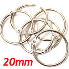 20mm 100 pièces mat argent plaqué métal carte livre reliure anneaux porte-clés pour porte-clés Scrapbook Album bricolage résultats accessoires