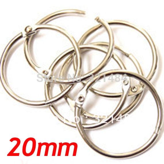 20mm 100pcs Dull Silver Plated Metal Card Book Binder Rings Keyrings For Keychain Scrapbook Album DIY Findings Accessories