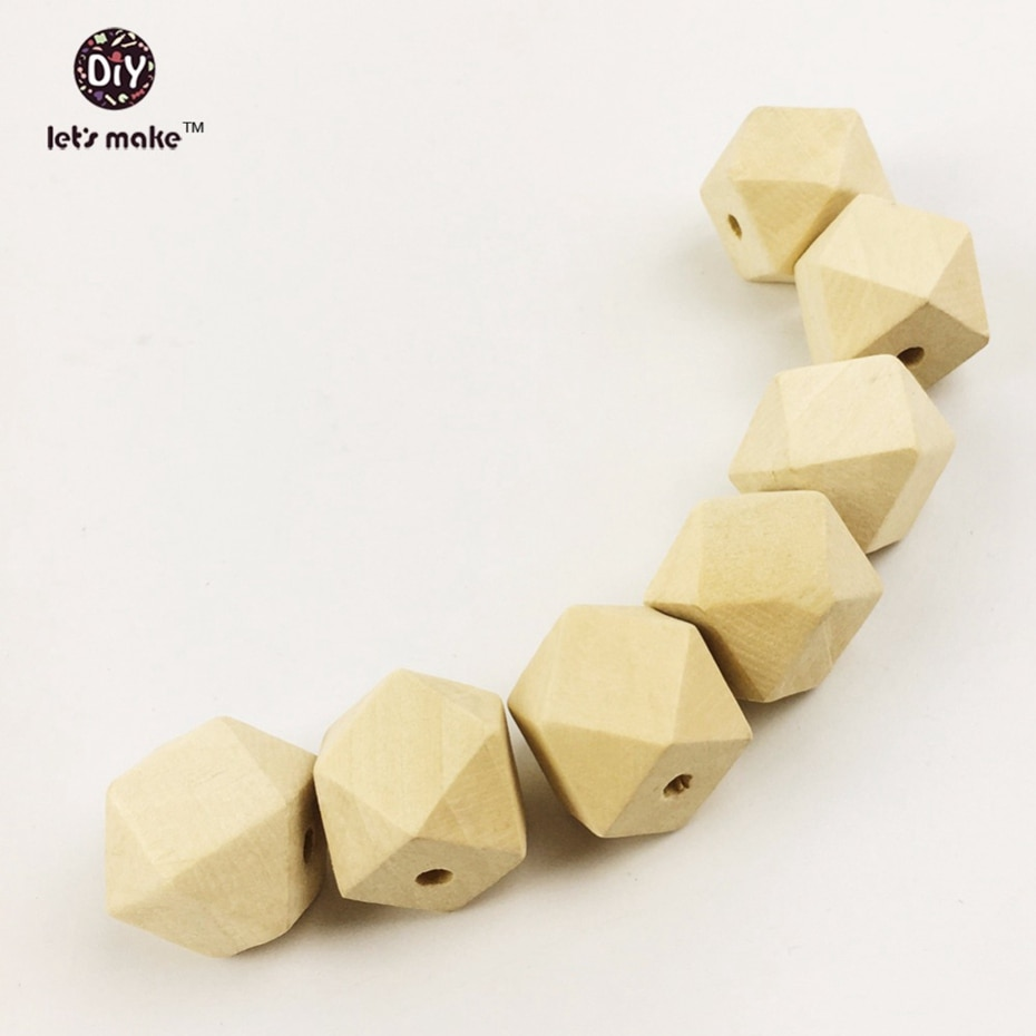 AliExpress - Let's Make (10-20mm) Wooden Geometric Beads 200pcs Baby Chewing Hexagon Beads Teething Necklace DIY Accessories Baby Teether