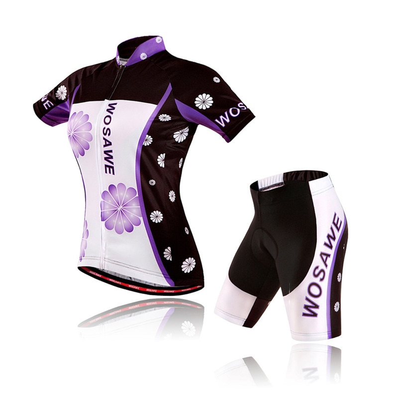 WOSAWE, Jersey de Ciclismo de manga corta para mujer, ropa de Ciclismo, Maillot, ropa de bicicleta, negro púrpura, mtb, paño para Ciclismo