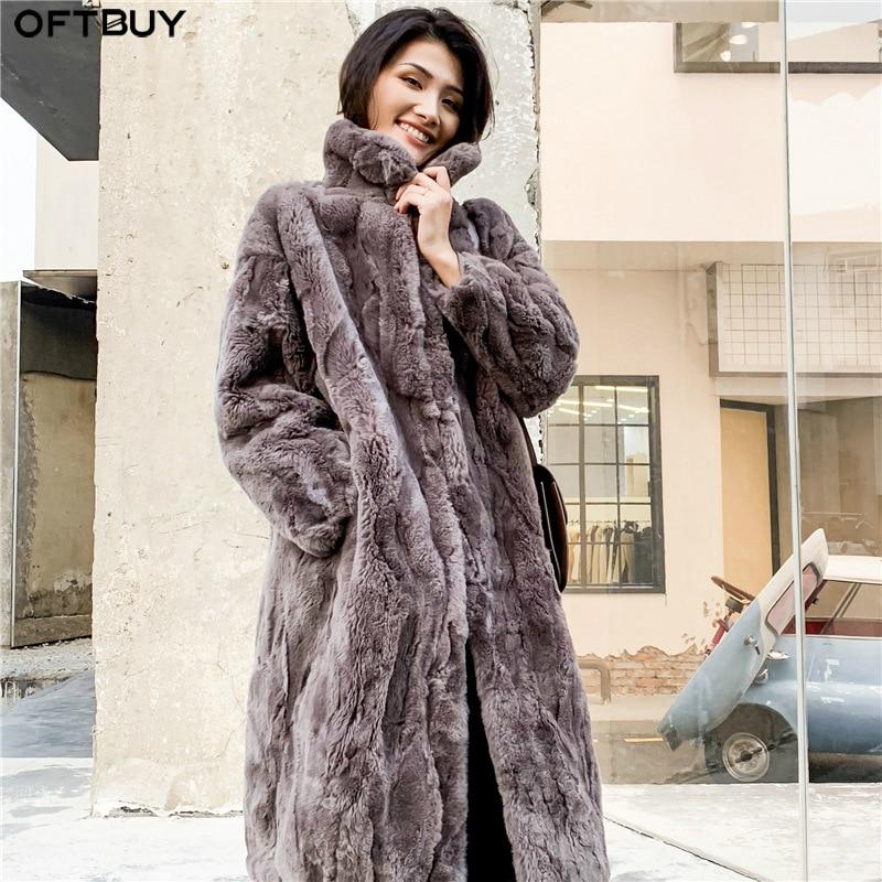 OFTBUY 2020 Real Fur Coat Winter Jacket Women Natural Rex Rabbit Fur Long Overcoat Stand Collar Streetwear Thick Warm Outerwear