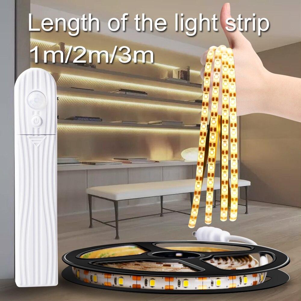 Mouvement Led bande 1m 2m 3m Flexible Led TV lumière étanche néon lampe Led bande batterie bande Dimmable éclairage cuisine chambre