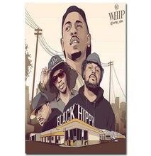 Autocollant mural de décoration   Nouvelle affiche artistique Street Rap Kendrick Lamar musique-soie, cadeau de décoration