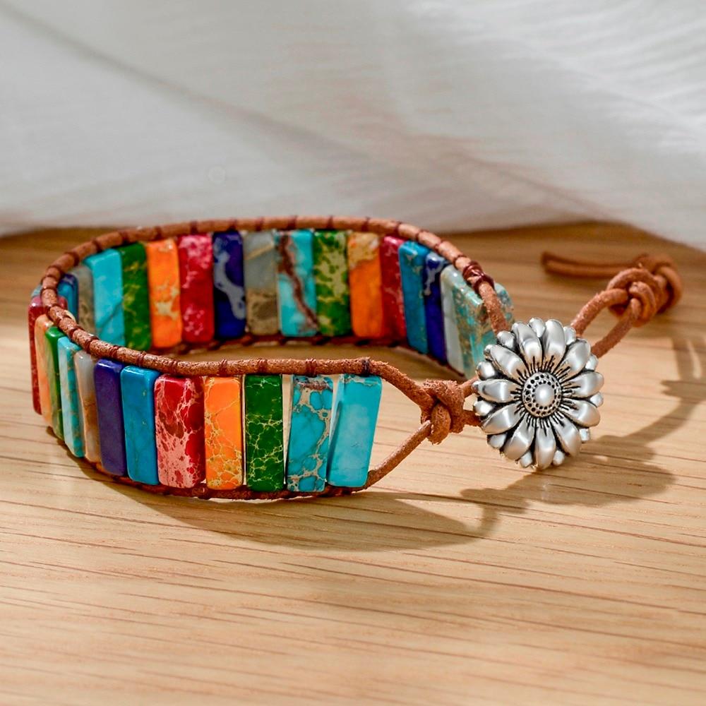 Moda 7 chakra cura yoga pulseira para mulheres menina boêmio boho flor arco-íris druzy pulseira presente