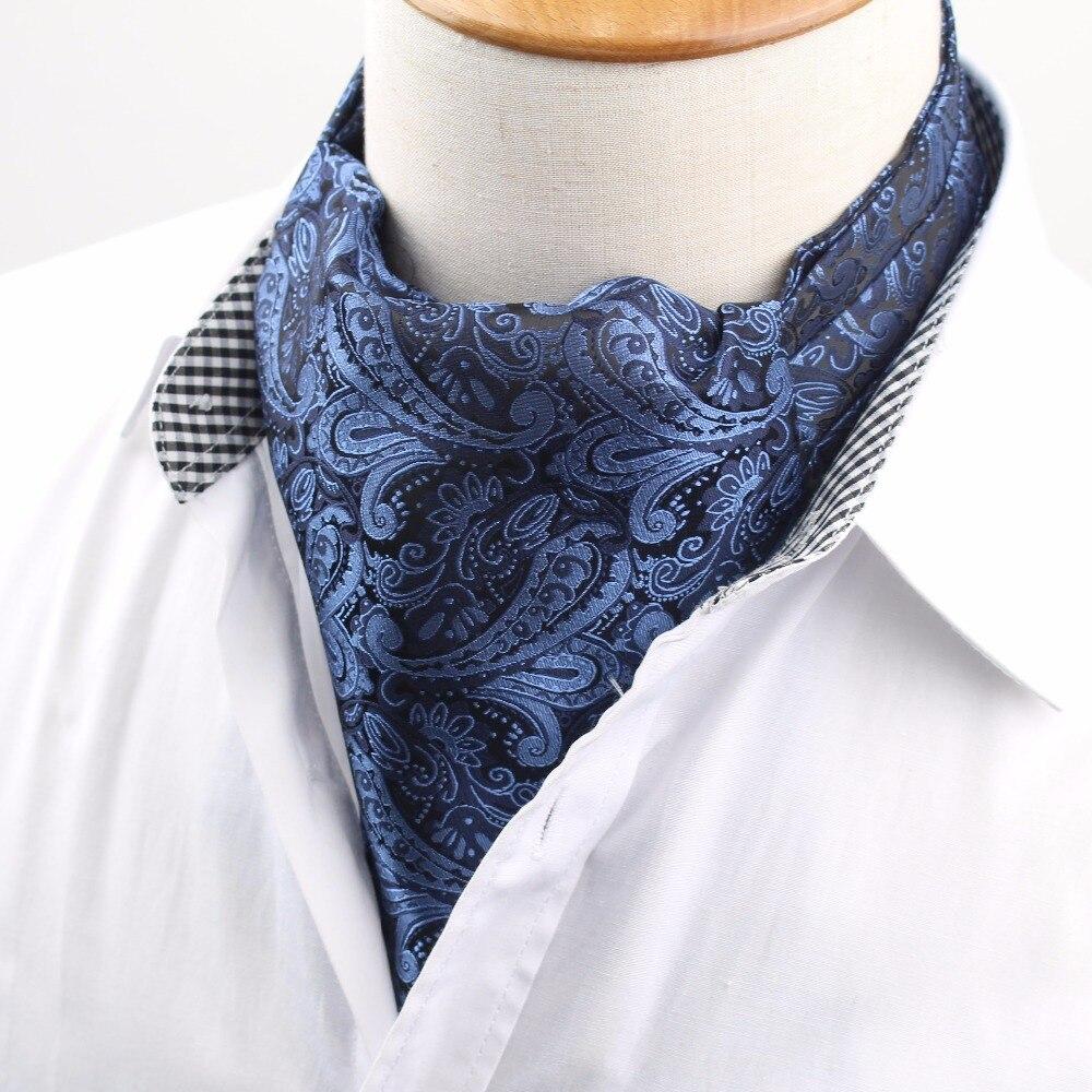 Corbata Vintage para hombre, corbata Formal Ascot Scrunch Self, corbata de cuello de seda de poliéster para caballero con lunares británicos de lujo