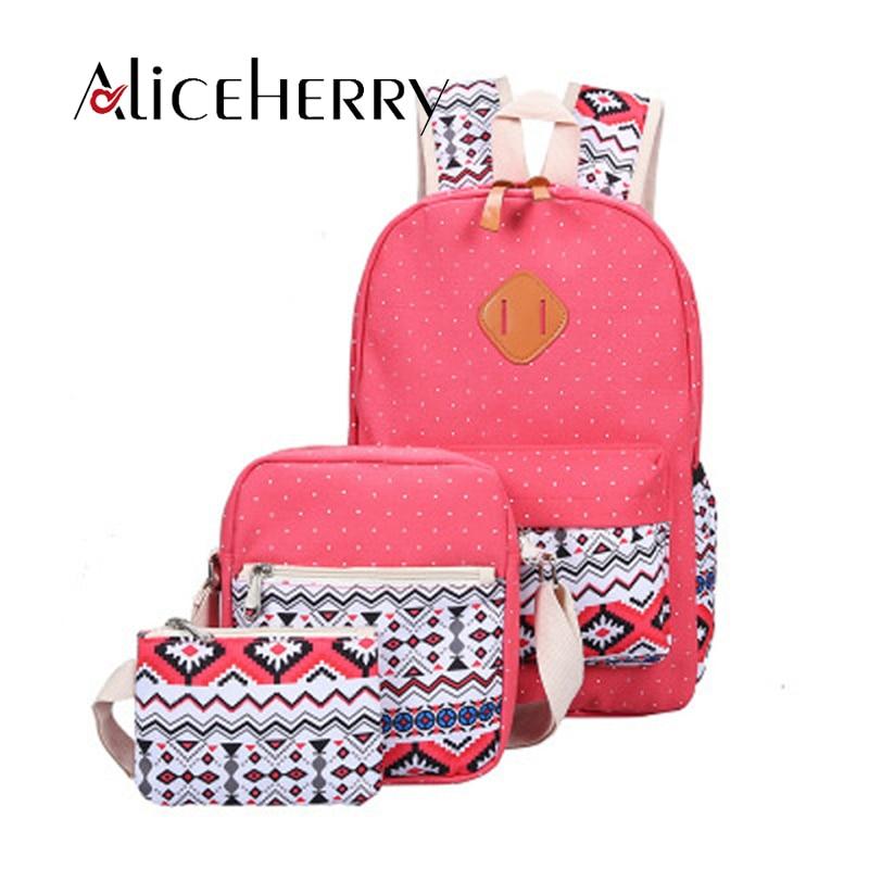 Mochila de lona para mujer mochila de Escuela Rosa para adolescentes chicas de estilo nacional preppy bolsas compuestas conjunto de mochila de viaje de mujer