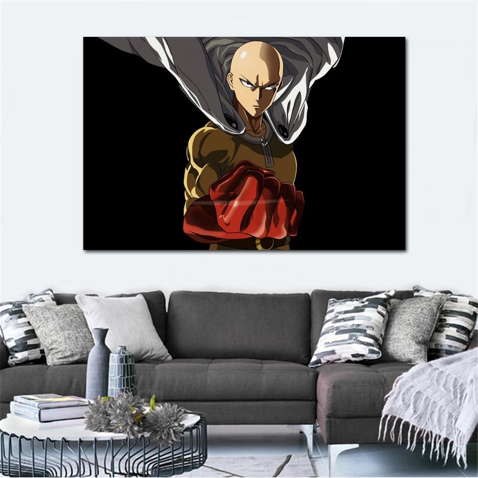 Retrato de personaje de saitama del anime one punch man KB904 para sala de estar, decoración artística moderna de pared, póster de tela con marco de madera