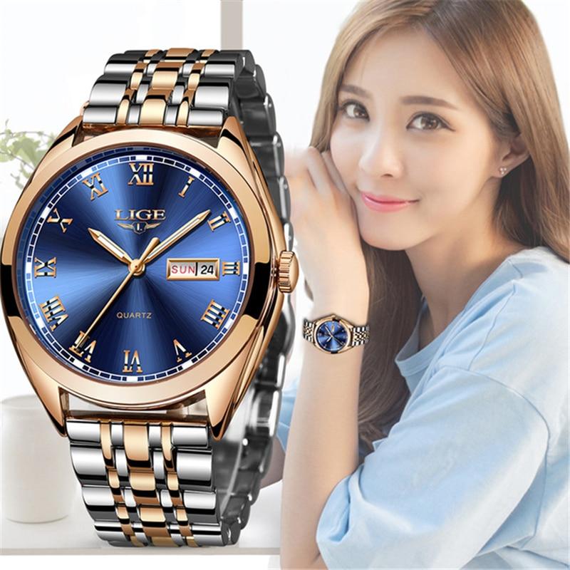 2019 LIGE nuevo reloj de oro rosa para mujer, reloj de cuarzo de negocios, reloj de pulsera de lujo para mujer, reloj para chicas, reloj femenino