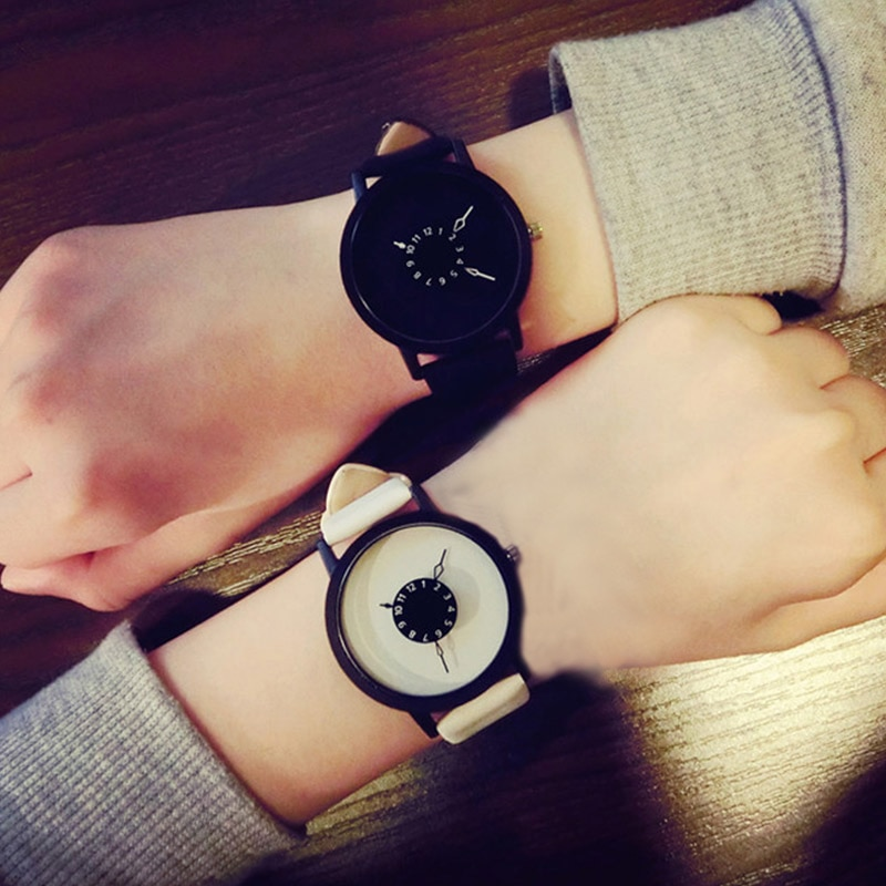 Lovers Couple Quartz Watch Leather Clock Men And Women Wristwatches Personality Student Watches TT@8