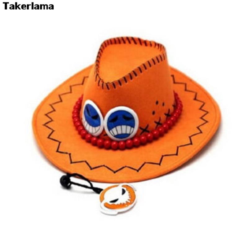 Takerlama ONE PIECE Portgas D ace Cowboy Hat Cosplay Hats Pirates Cap Suede Halloween Costume Hats недорого