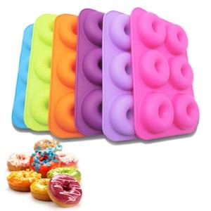 Форма для выпечки в виде пончика, многоцветный кухонный инструмент с шестью решетками, яркие цветные силиконовые формы для выпечки в виде пончиков, инструменты для украшения