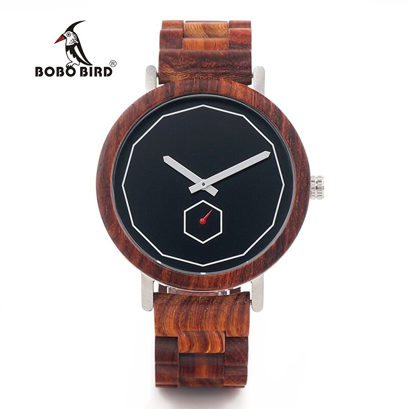 BOBO BIRD Luxury Red Wood Band Wrist Watch Men Japan Movement 2035 Quartz Wooden Watches Gifts relogio masculino C-M29