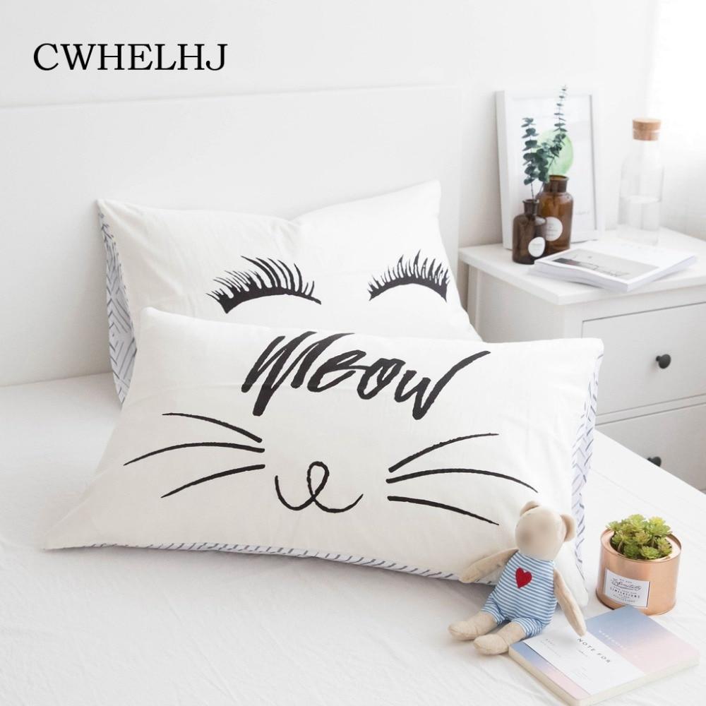 1pc nórdicos de dibujos animados Fox/gato de hogar Fundas de cojín de algodón niños habitación funda decorativa para cojín lindo pestañas dormitorio fundas de almohada