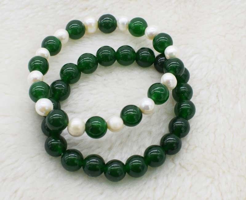 Wow! verde jade rodada de água doce branco pérola 10mm contas pulseira 7.5 inch atacado FPPJ natureza tamanho grande