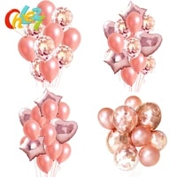 14pcslot clear balloons rose gold star heart foil confetti transparent balloon birthday baby shower wedding party decorations