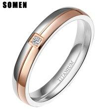 Somen Ring Frauen 4mm Titan Ringe Einfachheit Zirkonia Hochzeit Band Engagement Ringe Romantische Frauen Schmuck Bague Femme